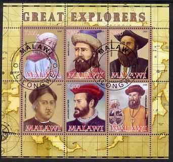 Malawi 2008 Great Explorers #1 perf sheetlet containing 6 values fine cto used
