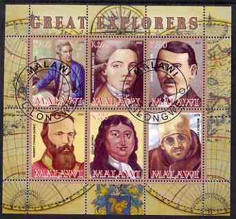 Malawi 2008 Great Explorers #2 perf sheetlet containing 6 values fine cto used