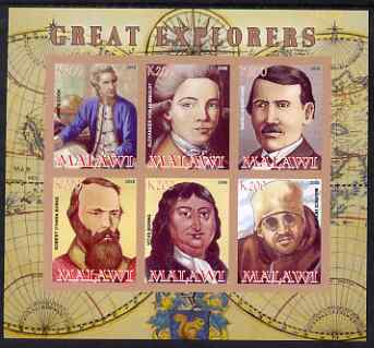 Malawi 2008 Great Explorers #2 imperf sheetlet containing 6 values unmounted mint