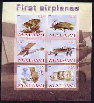 Malawi 2008 First Airplanes imperf sheetlet containing 6 values unmounted mint
