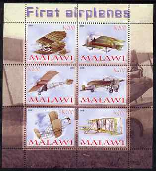 Malawi 2008 First Airplanes perf sheetlet containing 6 values unmounted mint