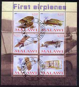 Malawi 2008 First Airplanes perf sheetlet containing 6 values fine cto used