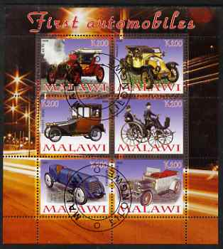 Malawi 2008 First Automobiles perf sheetlet containing 6 values fine cto used