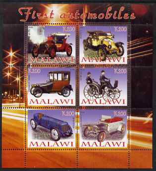 Malawi 2008 First Automobiles perf sheetlet containing 6 values unmounted mint