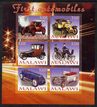Malawi 2008 First Automobiles imperf sheetlet containing 6 values unmounted mint