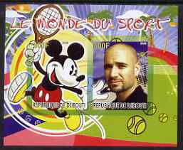 Djibouti 2008 Disney & World of Sport - Tennis & Andre Agassi imperf sheetlet containing 2 values unmounted mint