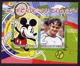 Djibouti 2008 Disney & World of Sport - Tennis & Roger Federer imperf sheetlet containing 2 values unmounted mint