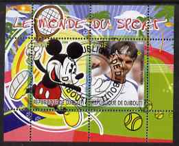 Djibouti 2008 Disney & World of Sport - Tennis & Roger Federer perf sheetlet containing 2 values fine cto used