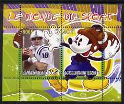 Djibouti 2008 Disney & World of Sport - American Football & Peyton Manning perf sheetlet containing 2 values unmounted mint