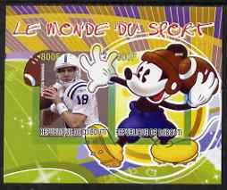 Djibouti 2008 Disney & World of Sport - American Football & Peyton Manning imperf sheetlet containing 2 values unmounted mint