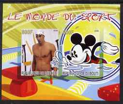 Djibouti 2008 Disney & World of Sport - Swimming & Michael Phelps imperf sheetlet containing 2 values unmounted mint