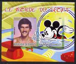 Djibouti 2008 Disney & World of Sport - Swimming & Mark Spitz imperf sheetlet containing 2 values unmounted mint
