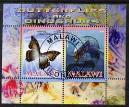 Malawi 2008 Butterflies & Dinosaurs #1 perf sheetlet containing 2 values fine cto used
