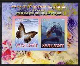 Malawi 2008 Butterflies & Dinosaurs #1 imperf sheetlet containing 2 values unmounted mint