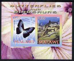 Malawi 2008 Butterflies & Dinosaurs #2 imperf sheetlet containing 2 values unmounted mint