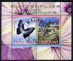 Malawi 2008 Butterflies & Dinosaurs #2 perf sheetlet containing 2 values fine cto used