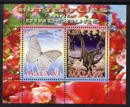 Malawi 2008 Butterflies & Dinosaurs #3 perf sheetlet containing 2 values unmounted mint