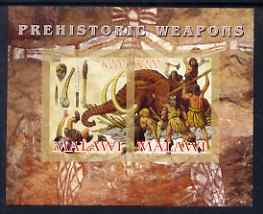 Malawi 2008 Prehistoric Weapons imperf sheetlet containing 2 values unmounted mint, stamps on dinosaurs, stamps on mammoths, stamps on elephants