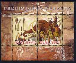 Malawi 2008 Prehistoric Weapons perf sheetlet containing 2 values unmounted mint