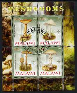 Malawi 2008 Fungi #2 perf sheetlet containing 4 values, each with Scout logo fine cto used