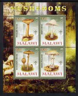 Malawi 2008 Fungi #2 perf sheetlet containing 4 values, each with Scout logo unmounted mint