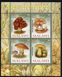 Malawi 2008 Fungi #3 perf sheetlet containing 4 values, each with Scout logo unmounted mint