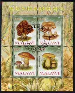 Malawi 2008 Fungi #3 perf sheetlet containing 4 values, each with Scout logo fine cto used