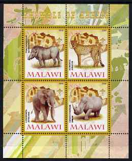 Malawi 2008 Animals of Africa #1 perf sheetlet containing 4 values, each with Scout logo unmounted mint