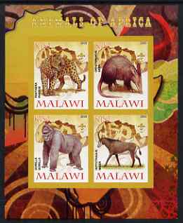 Malawi 2008 Animals of Africa #2 imperf sheetlet containing 4 values, each with Scout logo unmounted mint