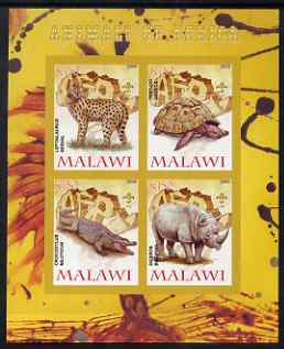 Malawi 2008 Animals of Africa #3 imperf sheetlet containing 4 values, each with Scout logo unmounted mint