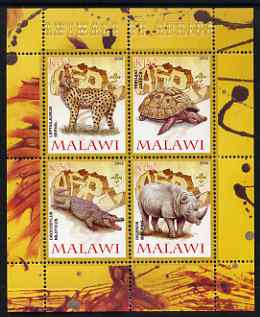 Malawi 2008 Animals of Africa #3 perf sheetlet containing 4 values, each with Scout logo unmounted mint