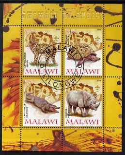 Malawi 2008 Animals of Africa #3 perf sheetlet containing 4 values, each with Scout logo fine cto used