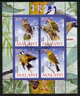 Malawi 2008 Birds #1 perf sheetlet containing 4 values, each with Scout logo fine cto used