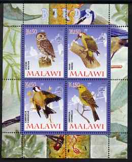 Malawi 2008 Birds #1 perf sheetlet containing 4 values, each with Scout logo unmounted mint