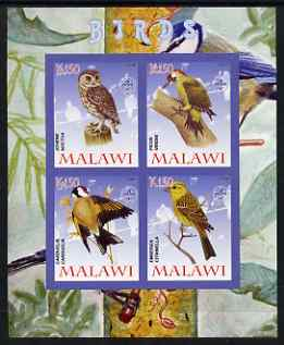 Malawi 2008 Birds #1 imperf sheetlet containing 4 values, each with Scout logo unmounted mint