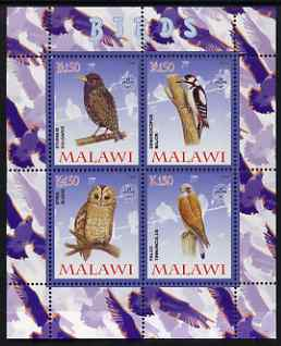 Malawi 2008 Birds #2 perf sheetlet containing 4 values, each with Scout logo unmounted mint