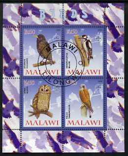 Malawi 2008 Birds #2 perf sheetlet containing 4 values, each with Scout logo fine cto used