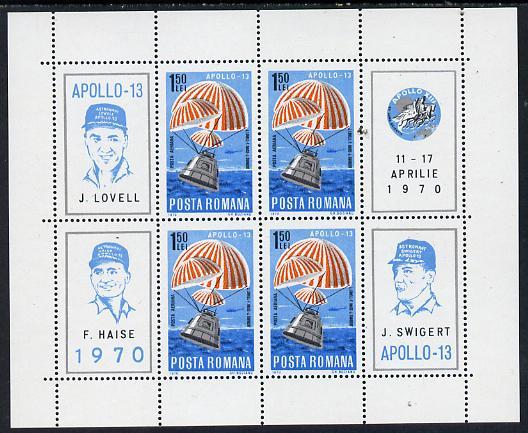 Rumania 1970 Apollo 13 m/sheet containing block of 4 plus 4 labels unmounted mint as SG 3743, Mi BL 77