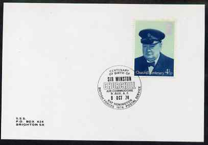 Postmark - Great Britain 1974 cover bearing special cancellation for Birth Centenary of Winston Churchill, Air Commodore (BFPS)