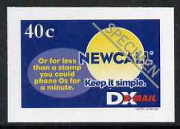 New Zealand 1999 DX Mail 40c New Call imperf opt'd SPECIMEN printed on reverse of advertising sheet, Stirling cat No. DXP2 unmounted mint