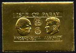 Pabay 1967 Churchill & Kennedy 1s larger format embossed in gold foil unmounted mint (Rosen PA69)