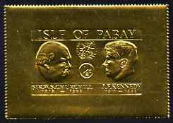 Pabay 1967 Churchill & Kennedy 1/2d larger format embossed in gold foil unmounted mint (Rosen PA65)