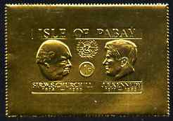 Pabay 1967 Churchill & Kennedy 1d larger format embossed in gold foil unmounted mint (Rosen PA67)
