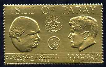 Pabay 1967 Churchill & Kennedy 1/2d value embossed in gold foil (perf) unmounted mint (Rosen PA57)