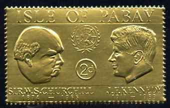 Pabay 1967 Churchill & Kennedy 2d value embossed in gold foil (perf) unmounted mint (Rosen PA59)