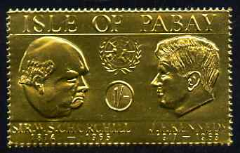 Pabay 1967 Churchill & Kennedy 1s value embossed in gold foil (perf) unmounted mint (Rosen PA62)