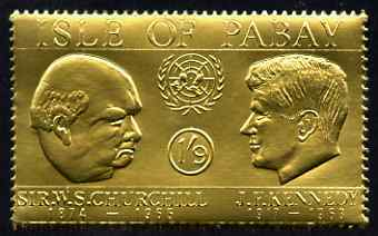 Pabay 1967 Churchill & Kennedy 1s9d value embossed in gold foil (perf) unmounted mint (Rosen PA63)