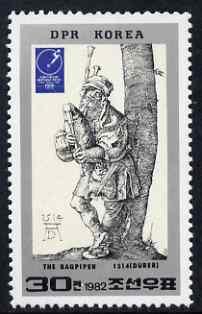 North Korea 1982 Essen Stamp Fair 30ch Bagpiper by Durer unmounted mint SG N2183