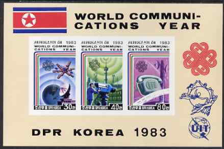 North Korea 1983 World Communications Year imperf m/sheet (3 values) from a limited printing, unmounted mint SG MS N2350a, stamps on communications, stamps on telephones, stamps on  tv , stamps on satellites, stamps on
