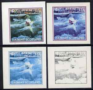 Gairsay 1984 Los Angeles Olympic Games - Canoeing 11p the set of 4 imperf progressive proofs comprising 1, 2, 3 and all 4-colour composites, unmounted mint
